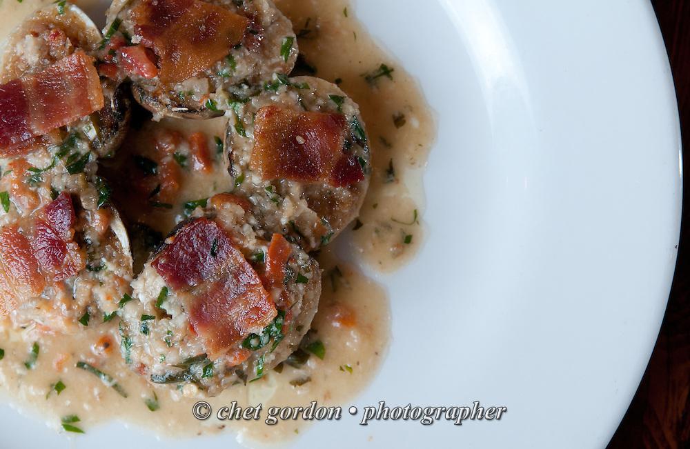 Baked clams, bacon, bagna cauda at L'INIZIO in Ardsley, NY on Friday, June 20, 2014.  © Chet Gordon / Westchester Magazine