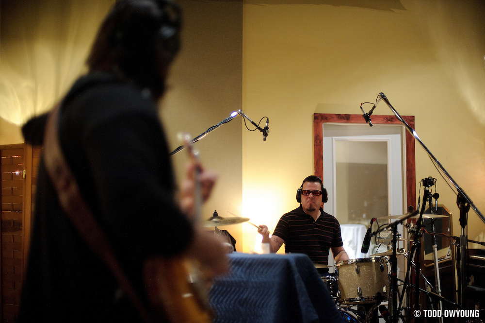 Photos of the band The Upright Animals at Sawhorse Recording Studios, March 2010.