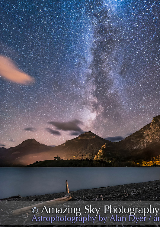 The Milky Way over the distant Prince of Wales Hotel from Driftwood Beach, in Waterton Lakes National Park, September 24, 2016. Being at the end of the season, the hotel is closed and dark. The bright star at centre is Altair in Aquila.<br />