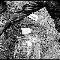 After finding a booby-trapped body, all exhumations require that a NATO military demining team check the site for explosives each 10cm of digging, even in a reburial site. The International Tribunal for the former Yugoslavia (ICTY) reburied many of the bodies it used for its investigations in ,Äògraveyards of the unidentified.,Äô