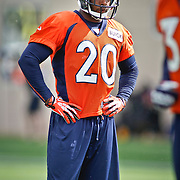 SHOT 7/25/13 9:40:31 AM - Denver Broncos strong safety Mike Adams #20 runs through drills during opening day of the team's training camp July 25, 2013 at Dove Valley in Englewood, Co.  (Photo by Marc Piscotty / © 2013)