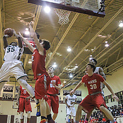 Mount Pleasant Douglas Sneh (35) drive to the basket as Hazleton Joey Grula (22) defends during the Concord Classic basketball game between Mount Pleasant and the Hazleton Cougars Mon. Jan. 16, 2017 at Concord High School in Wilmington.