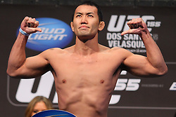 Las Vegas, NV - December 28, 2012: Yushin Okami weighs in for his bout against Alan Belcher at UFC 155 at MGM Grand Garden Arena in Las Vegas, Nevada.