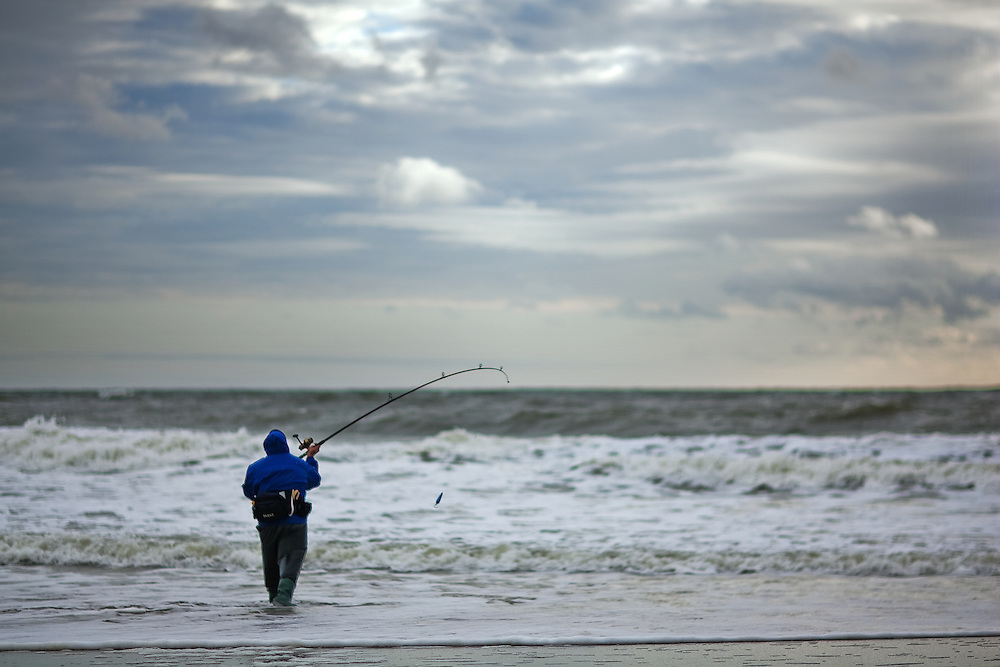Fisherman at sandy hook nj during coastal storm michael for Surf fishing nj