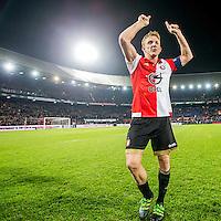 ROTTERDAM - Feyenoord - AZ , Voetbal , Seizoen 2015/2016 , Halve finales KNVB Beker , Stadion de Kuip , 03-03-2016 , Speler van Feyenoord Dirk Kuyt viert zijn eigen feestje met het publiek