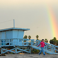 A rainbow shines over Santa Monica on Wednesday, December 22, 2010.