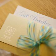 A studio photo of a retail gift voucher