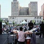 The Brownie Roach Project legendary drummer Louis Hayes, CENTER, performs in front of a large crowd at the 26th annual duPont Clifford Brown Jazz Festival Wednesday, June 18, 2014, at Rodney Square Park in Wilmington, DEL.    <br /> <br /> &ldquo;The Clifford Brown Jazz Festival is a staple of Wilmington&rsquo;s performing arts culture,&rdquo; said Mayor Dennis P. Williams. &ldquo;The City is excited to celebrate the 26th anniversary and I hope the community gets involved and enjoys all of the many activities the festival has to offer.&rdquo;