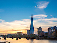 Sunrise over the River Thames and The Shard Building