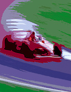 Image of Michael Schumacher's Ferrari during a Formula One race at Hockenheim, Germany