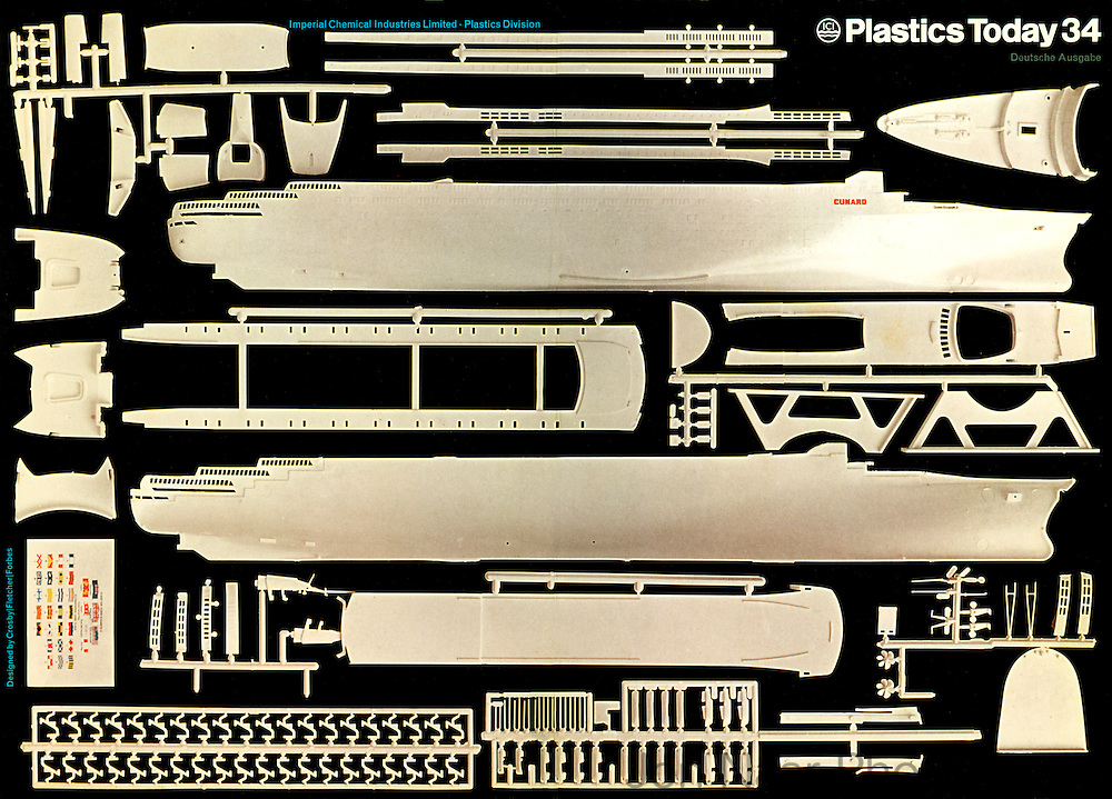"Plastic kit for liner QE 2 shot for covers of ICI ""Plastics Today"" 34  German edition in 1968.  Taken with a Calumet using 4x6"" format."