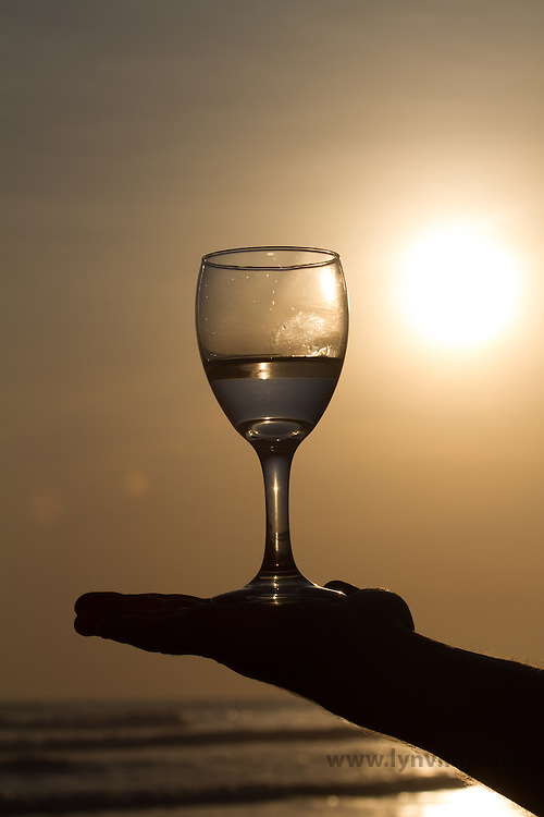 Glass in sunset Cost Rica