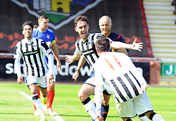 Dunfermline&rsquo;s Shaun Byrne (8) celebrates after scoring their second goal. <br /> Dunfermline 5 v 1 Cowdenbeath, Scottish League Cup game played today at East End Park.