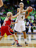 SOUTH BEND, IN - FEBRUARY 11: As Shelby Harper #1 of the Louisville Cardinals guards Skylar Diggins #4 of the Notre Dame Fighting Irish holds the ball at Purcel Pavilion on February 11, 2013 in South Bend, Indiana. Notre Dame defeated Louisville 93-64. (Photo by Michael Hickey/Getty Images) *** Local Caption *** Shelby Harper; Skylar Diggins