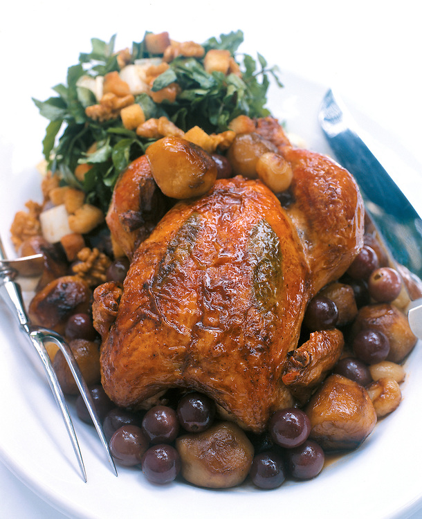 whole Roasted chicken meal on plate
