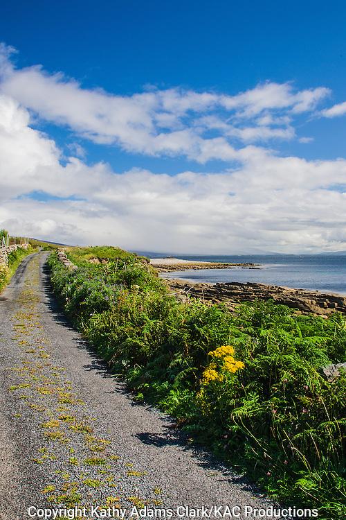 Coastline road on Clare Island off coast of western Ireland.