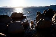 Harry King kayaks on Lake Tahoe near Kings Beach, Calif., January 19, 2011.