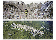 Between 23 and 24 september 2016 i'm back to Amatrice, one month later the earthquake. All pictures realized with a panoramic film camera, Hasselblad Xpan. The pictures are shooting inside the red zone of Amatrice and from helicopter of the Amatrice, Accumuli, Arquata del Tronto and Pescara del Tronto.