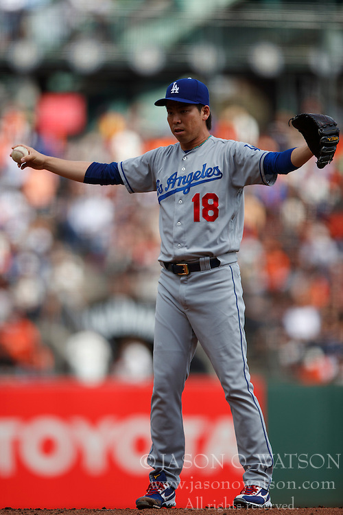 SAN FRANCISCO, CA - OCTOBER 02: Kenta Maeda #18 of the Los Angeles Dodgers stands on the pitchers mound against the San Francisco Giants during the first inning at AT&T Park on October 2, 2016 in San Francisco, California. The San Francisco Giants defeated the Los Angeles Dodgers 7-1. (Photo by Jason O. Watson/Getty Images) *** Local Caption *** Kenta Maeda