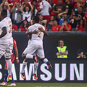 Panama Midfielder MIGUEL CAMARGO (2) celebrates with his teammates after scoring in the 5th minute of the first half of a Copa America Centenario Group D match between the Chile and Panama Tuesday, June. 14, 2016 at Lincoln Financial Field in Philadelphia, PA.