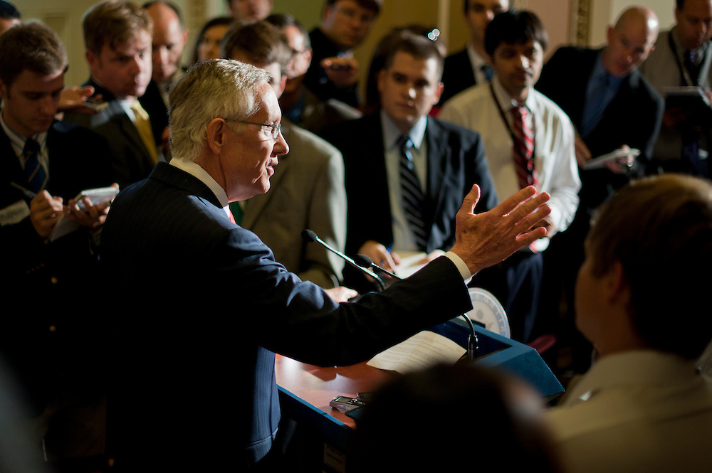 Senate Majority Leader HARRY REID (D-NV) speaks to the media at the Capitol shortly before leaving for more budget meetings with Republican Leaders and the President at the White House.