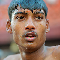 A man proud and purified after the Ganga snan, the holy bath.