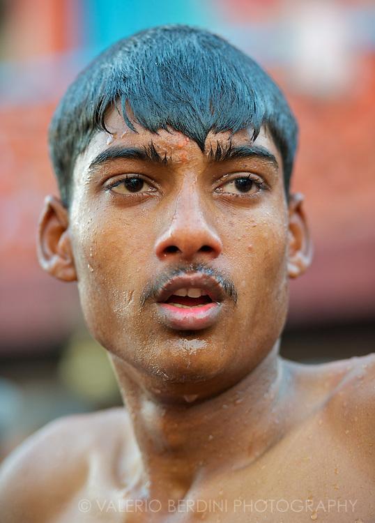 A man proud and purified after the Ganga snan, the holy bath.