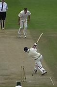 Photo Peter Spurrier.01/09/2002.Village Cricket Final - Lords.Elvaston C.C. vs Shipton-Under-Wychwood C.C..Chris Panter take the last Elvaston.