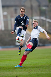Dundee's Martin Boyle and Falkirk's Craig Sibbald.<br /> half time : Dundee 0 v 1 Falkirk, Scottish Championship game played today at Dundee's Dens Park.<br /> &copy; Michael Schofield.