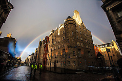 Rainbows over the buildings on the Royal Mile in Edinburgh..©Michael Schofield.