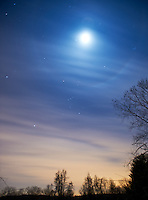 Winter Night Sky over New Jersey. Moon, moon ring, Orion. Image taken with a Nikon D3 and 17-35 mm f/2.8 lens (ISO 200, 17 mm, f/2.8, 30 sec).