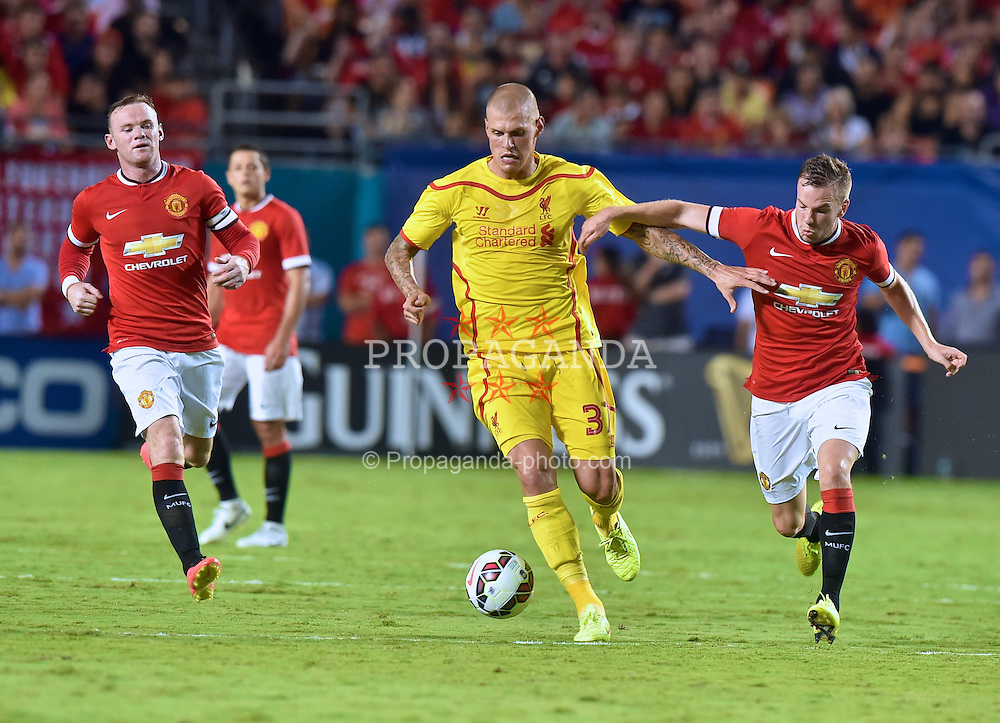 MIAMI, USA - Monday, August 4, 2014: Liverpool's Martin Skrtel in action against Manchester United during the International Champions Cup Final match at the SunLife Stadium on day fifteen of the club's USA Tour. (Pic by David Rawcliffe/Propaganda)