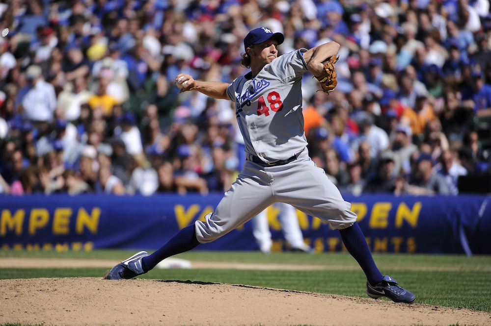 CHICAGO - MAY 27:  John Ely #48 of the Los Angeles Dodgers pitches against the Chicago Cubs on May 27, 2010 at Wrigley Field in Chicago, Illinois.  The Cubs defeated the Dodgers 1-0.  (Photo by Ron Vesely)