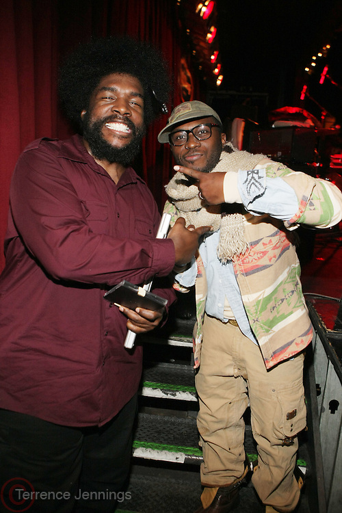 l to r: Quest?love and 88 Keys at The OkayPlayer Hoiliday Jammy presented by OkayPlayer and Frank Magazine held at BB Kings on December 18, 2008 in New York City..The Legendary Roots Crew gives back to fans with All-Star line-up of Special Guests to celebrate upcoming Holiday Season.