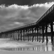 Glowing Cloud Sunset - San Simeon Pier, CA -  Black & White
