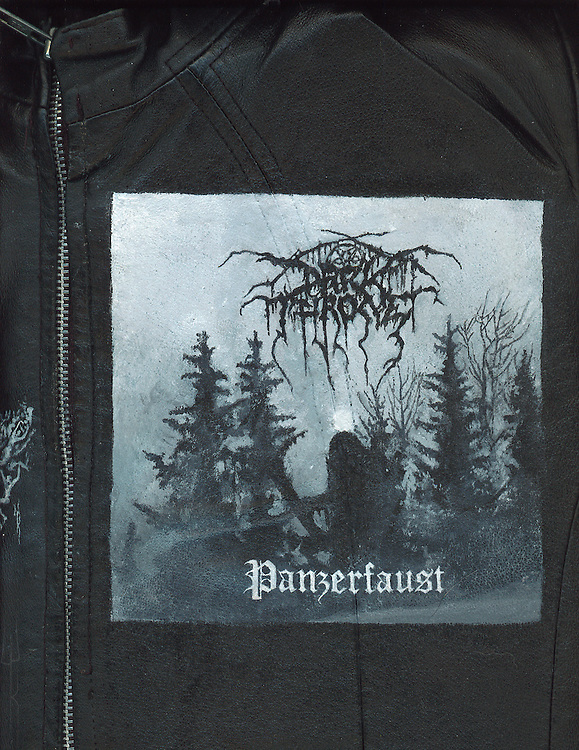 """Acrylic on leather by Worthless. Darkthrone """"Panzerfaust""""."""