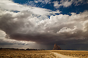 A monsoon thunderstorm over Shiprock.