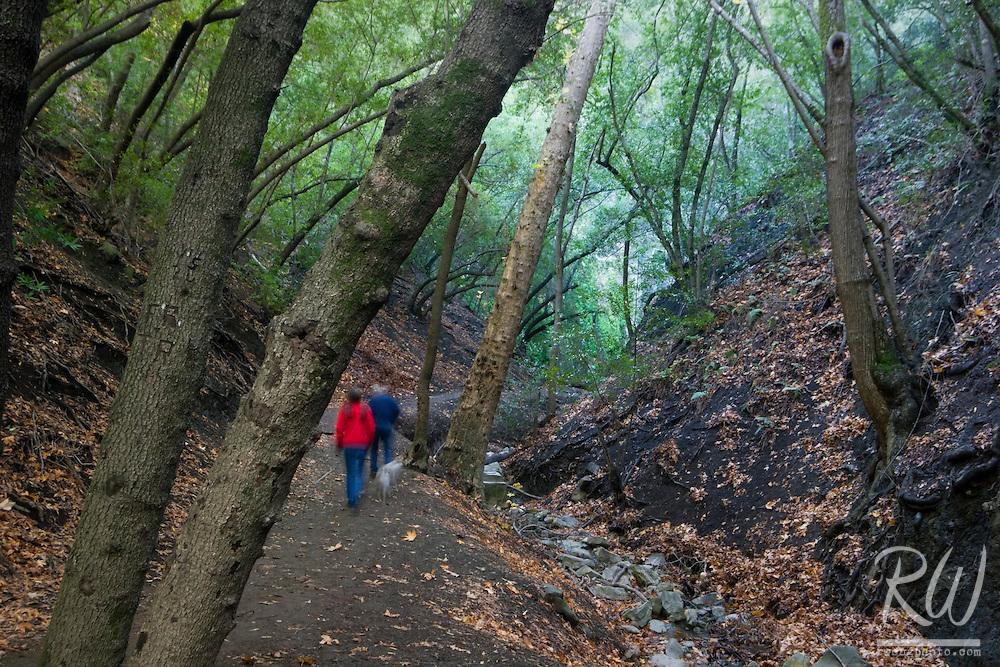 Pair of Hikers on Nojoqui Falls Trail, Santa Barbara County Near Solvang, California