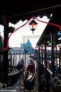 Gondola Station at dawn, Basilica di Santa Maria della Salute,  Venice, Venetia, Italy