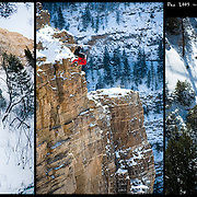 """Ted Davenport on the first """"Ski-BASE"""" descent of Glenwood Canyon, CO."""
