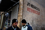 "A common message in Albanian Kosovo, dating from before independence, reading ""No Negotiation, Self-Determination"". ..Mitrovica, February 15, 2009."