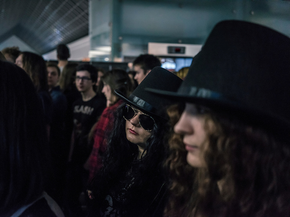 Fans wait to attend a concert by Slash at Prime Hall on Sunday, November 22, 2015 in Minsk, Belarus.