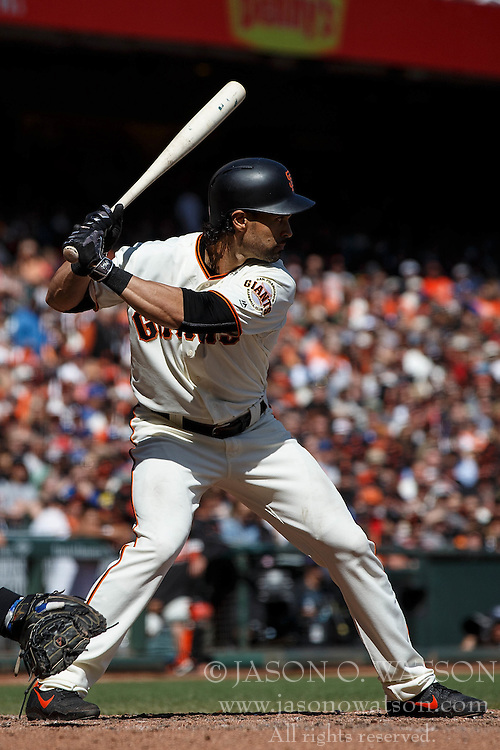 SAN FRANCISCO, CA - OCTOBER 02: Angel Pagan #16 of the San Francisco Giants at bat against the Los Angeles Dodgers during the fifth inning at AT&T Park on October 2, 2016 in San Francisco, California. The San Francisco Giants defeated the Los Angeles Dodgers 7-1. (Photo by Jason O. Watson/Getty Images) *** Local Caption *** Angel Pagan