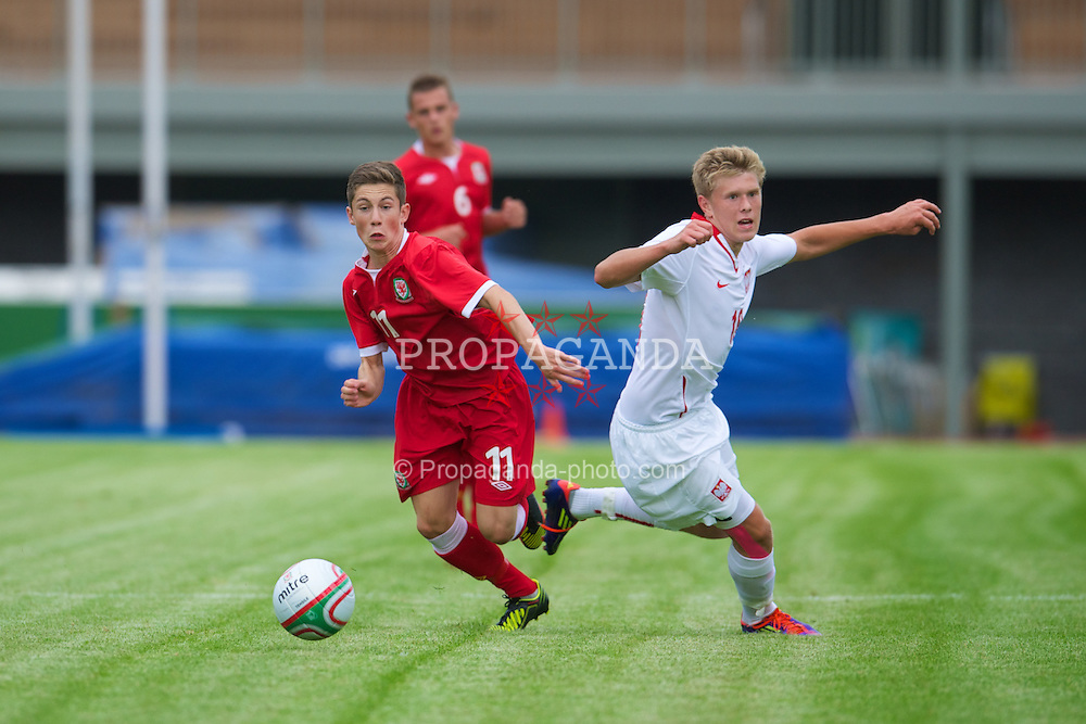 COLWYN BAY, WALES - Tuesday, August 28, 2012: Wales' Harry Wilson in action against Poland during the International Friendly Under-16's match at Eirias Park. (Pic by David Rawcliffe/Propaganda)