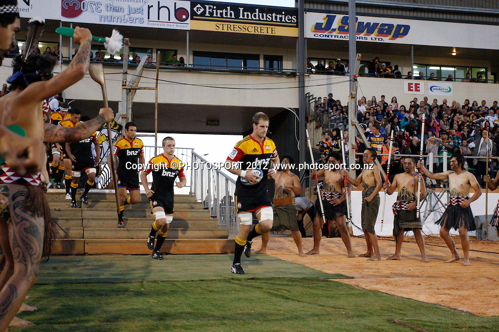 Chiefs Captain Craig Clark leads his men on to Baypark before their game with the Brumbies at Baypark Stadium, Mt Maunganui, New Zealand. Friday,16 March 2012. Photo: Dion Mellow/photosport.co.nz