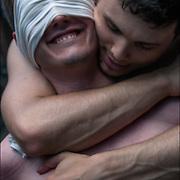 Master and slave after cathartic flogging. The flogging brings out a release of emotions usually by a crying. Hugging is the &quot;aftercare&quot; where the slave feels safe and protected.<br />