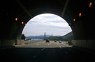 View of the Golden Gate Bridge and San Francisco from the southbound Waldo tunnel on Highway 101