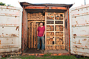 The artist Charlie O'Geen in Detroit. He dismantles an old house and categorizes its wooden contents, just to rebuild the interieur of the house with the same material again later.<br /> Charlie O&rsquo;Geen&rsquo;s work involves architectural investigations that respond directly to the conditions of a specific site and often utilize found objects as building materials. He received a Bachelor of Science in Architecture and a Master of Architecture from SUNY Buffalo and then went on to earn a second Master of Architecture degree from Cranbrook Academy of Art. O&rsquo;Geen is the construction manager for Powerhouse Productions and currently teaches architecture at Lawrence Technological University. He lives in Detroit, where he works on full-scale architectural and building experiments<br /> <br /> Art in Detroit 2013<br /> &copy; Stefan Falke<br /> www.stefanfalke.com