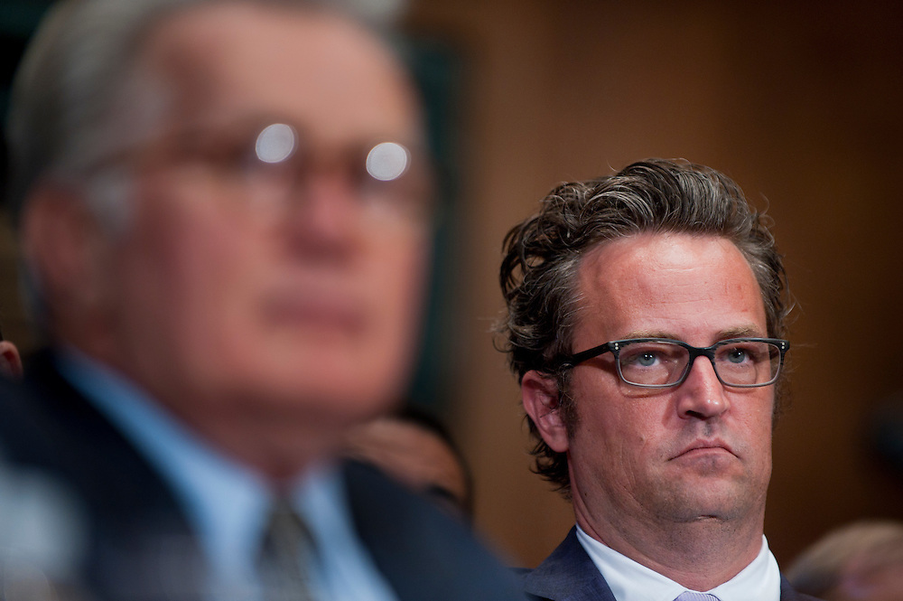 """Actor MATTHEW PERRY looks on during a Senate Judiciary Committee hearing """"Drug and Veterans Treatment Courts: Seeking Cost-Effective Solutions for Protecting Public Safety and Reducing Recidivism."""""""