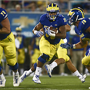 Delaware Running Back JALEN RANDOLPH (33) runs into the open field during a week one game between the Delaware Blue Hens and the Delaware State Hornets, Thursday, Sept. 01, 2016 at Tubby Raymond Field at Delaware Stadium in Newark, DE.